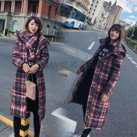 秋冬新款羽绒棉服女韩版过膝长款修身配围巾棉衣外套