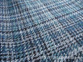 色织阳离子空变纱仿麻沙发布,加厚品质仿麻提花格子布装饰布
