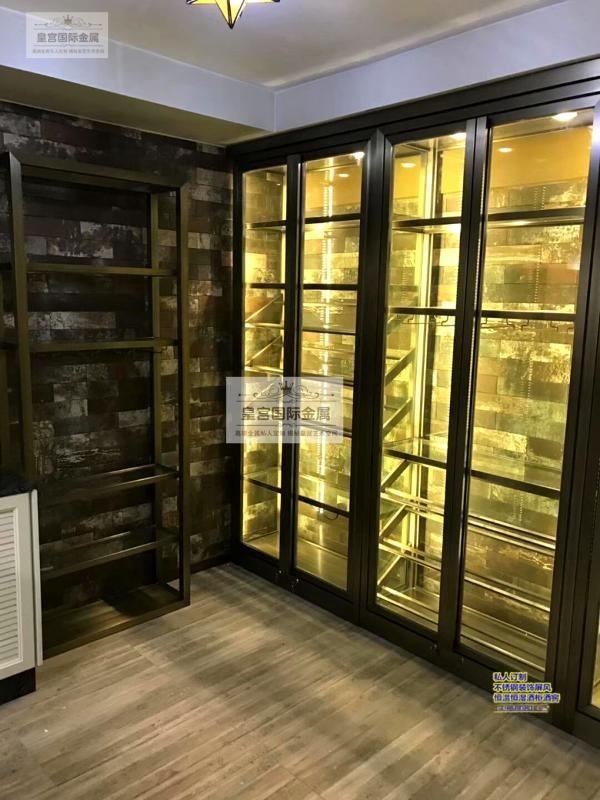 不锈钢酒柜酒架 新中式时尚简约黑钛拉丝无指纹酒柜