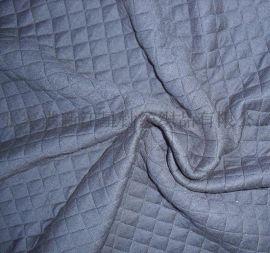 菱形格子/竖条夹层提花连接布空气层