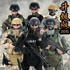 玩模樂兵人手辦模型1:6套裝特種部隊swat sdu警察高30CM男禮物兒童玩具批發