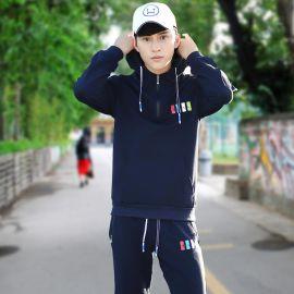 團體運動服定制logo 男裝春秋新款韓版套頭衛衣印花休閒套裝男潮