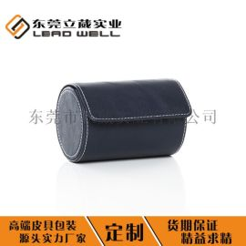 蓝色皮革男士圆形领带盒PU包装领带盒厂家定制