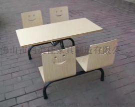 曲木快餐桌椅,工厂饭堂常用曲木连体餐桌椅