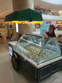 马迭尔黑绿色雪糕车 冰棍展示柜 豪华冰淇淋车