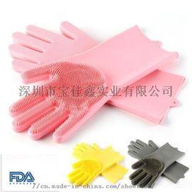 硅胶洗碗手套洗碗刷家务手套 防滑隔热耐磨厨房手套