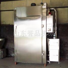 500型烟熏炉 大型双开门通道式生熟互锁挂杆式 外置发烟器烟熏炉