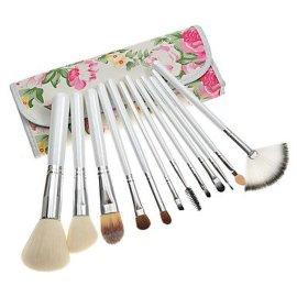 供应12支花纹包白色化妆小套刷面膜刷 时尚套扫 化妆刷 化妆用具 便携款