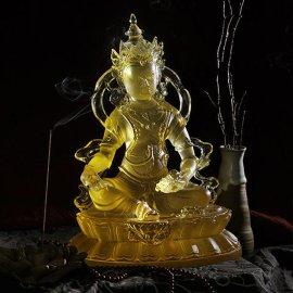 专业制作琉璃佛工厂,大号琉璃佛像,琉璃黄财神佛像,深圳琉璃工厂,琉璃工艺品厂家