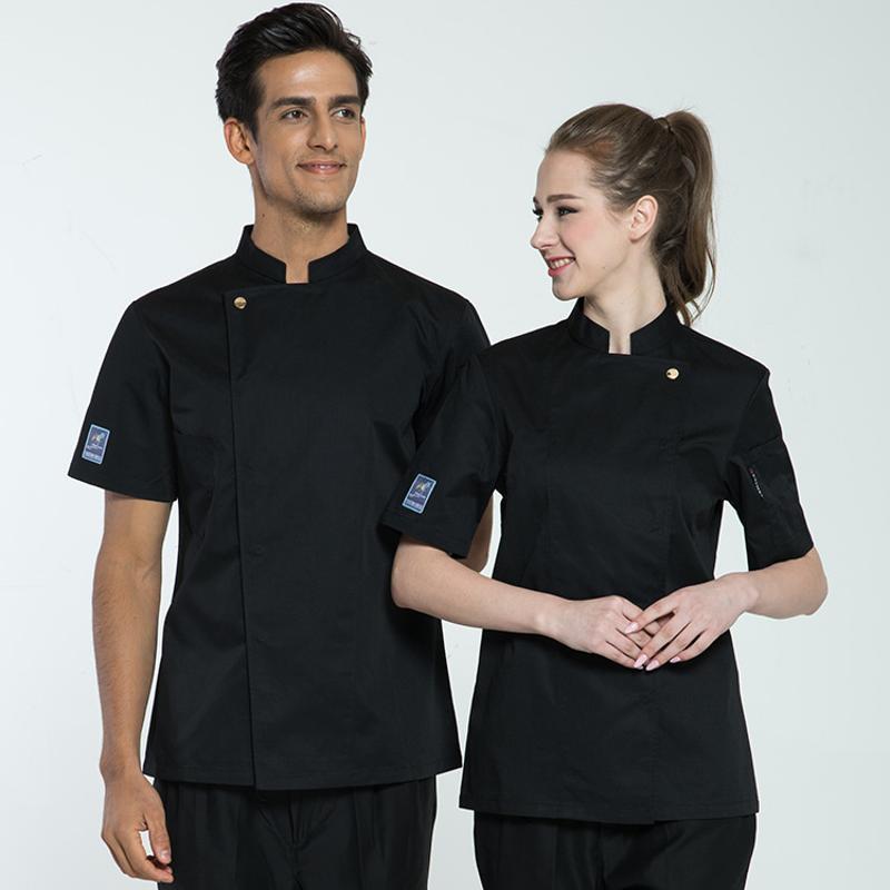 酒店饭店餐厅厨师服工作服定制logo短袖夏季透气纯棉烘焙师服装