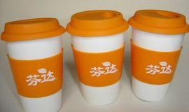 双层防热隔层陶瓷咖啡饮料杯,珠海广告促销杯