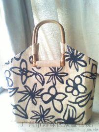 时尚天然黄麻袋印刷LOGO手挽购物袋女士手提袋