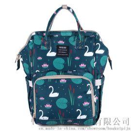 新款印花时尚妈咪包定制跨境热销母婴包轻便待产背包