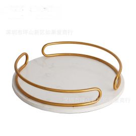 电镀古铜色铁白色大理石圆形托盘样板间欧式茶几客厅软装饰品摆件