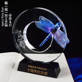 亭亭玉立 水晶琉璃獎牌紀念禮品 廣州獎牌擺件定制