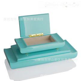 中欧式现代蓝色绿色木质首饰盒简约收纳盒软装饰品样板间饰品摆件