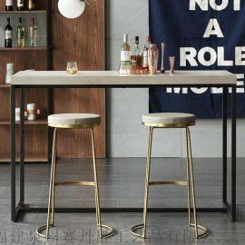 創意酒吧椅鐵藝金色吧凳家用吧臺椅高腳椅子