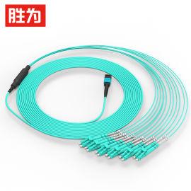 胜为光纤跳线MPO-LC多模12芯OM4集束光纤