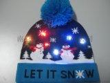 发光圣诞帽 LED七彩毛线帽 节日保暖帽子