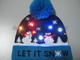發光聖誕帽 LED七彩毛線帽 節日保暖帽子