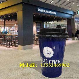 商业街暴走玻璃钢奶茶杯雕塑模型成抖音网红拍照背景
