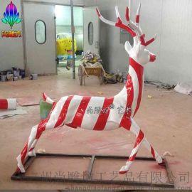 仿真动物雕塑 玻璃钢鹿雕塑定制 仿铜彩绘效果