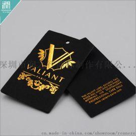 服装吊牌定做 **黑卡纸浮雕烫金吊牌定制直销