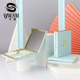 三色眼影盒子文艺蓝色 方形粉盒