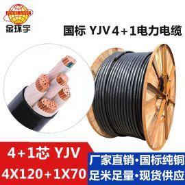 深圳市电缆厂家 金环宇 国标纯铜YJV 4*120+1*70平方 架空电缆