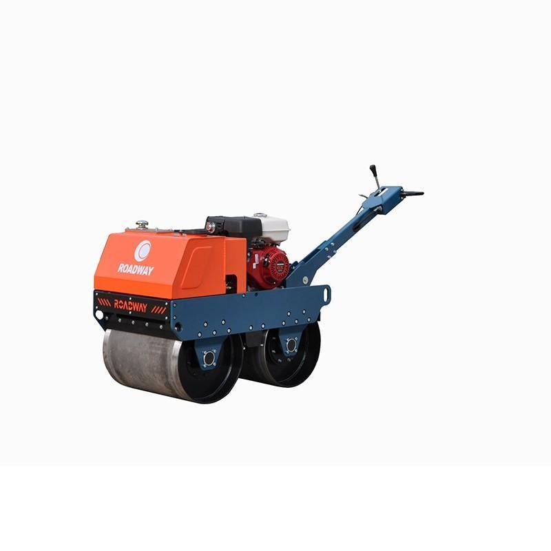 550kg汽油機人力轉向自動離心離合振動-驅動液壓泵和馬達小型手扶雙鋼輪壓路機