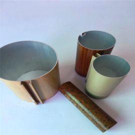 铝圆管吊顶厂家定制建材装饰材料木纹铝方通U型铝方通
