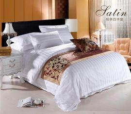 全棉3公分加密缎条床上用品四件套