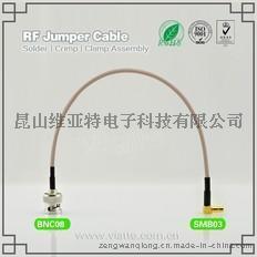 BNC08-SMB03BNC(Plug)  公针 to SMB(Plug)  公针弯式铆压接RG316_RG174同轴电缆/50Ω