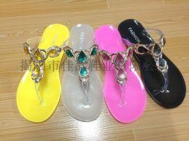 揭阳厂家供应女款滴油装饰水晶拖鞋
