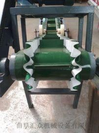 上楼送格挡爬坡输送机不锈钢防腐 机场行李装卸车输送机安庆