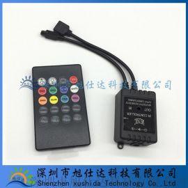 20键led灯音乐控制器七彩灯条灯带音频音乐节奏72W感应器12V低压