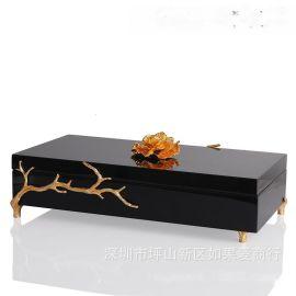 黑色金点长方形木质烤漆合金首饰盒欧式创意客厅卧室酒店实木摆件