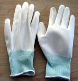 白pu塗掌手套白色防靜電浸掌塗膠pu塗層手套尼龍13針滌綸防滑