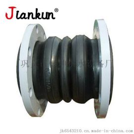 可曲挠双球体橡胶接头高压钢丝橡胶软接头DN50双球橡胶法兰管道减震器气模软接头