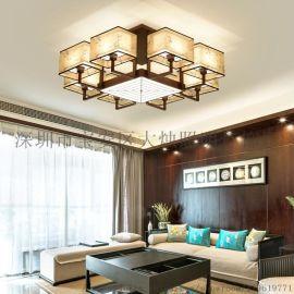 新中式吸顶灯正方形客厅餐厅书房红古色灯具led灯