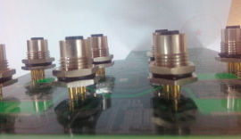 M12/M8 2 4芯pin针90度弯针母插座 PCB板式连接器 IP67防水连接器