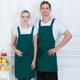 时尚围裙男女背带厨房餐厅咖啡厅美甲美发工作服围裙定制企业logo