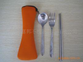 <春節特價禮品食具>不鏽鋼旅行食具枕形布袋三件套
