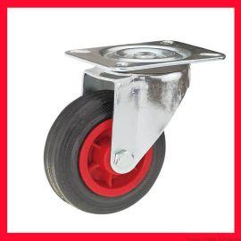 歐式工業腳輪,紅塑芯黑膠輪