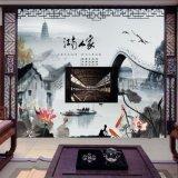 佛山瓷磚背景牆廠家個性定製彩虹石品牌中式客廳電視背景牆瓷磚 江南人家水墨山水畫 陶瓷藝術壁畫