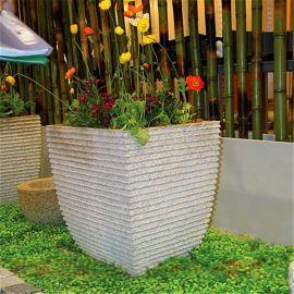 曲阳石雕花盆 别墅园林景观花钵摆件种花花盆