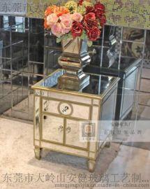 时尚新古典床头柜后现代欧式边柜镜面家具