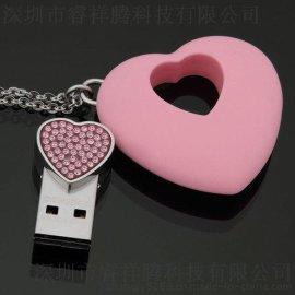 厂家定制各种情人节促销礼品 创意时尚项链U盘 心型吊坠U盘子