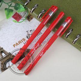 笔海文具 免费LOGO设计 9Z812塑料磨砂外壳中性笔 红杆碳素笔、水笔 定做笔厂家