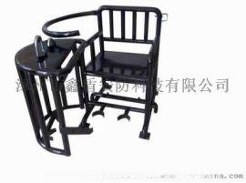[鑫盾安防]棕黑色板钥匙型铁质审讯椅 不锈钢审讯桌椅定做XD6